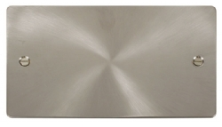 Click Define Brushed Steel 2 Gang Blank Plate FPBS061