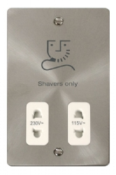 Click Define Brushed Steel Dual Voltage Shaver Socket FPBS100WH