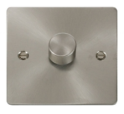 Click Define Brushed Steel 1 Gang 2 Way Dimmer Switch FPBS140