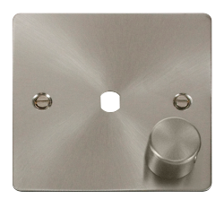 Click Define Brushed Steel 1 Gang Empty Dimmer Plate FPBS140PL