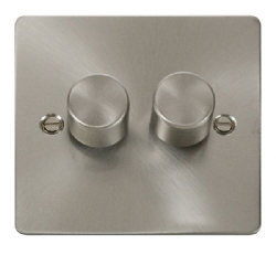 Click Define Brushed Steel 2 Gang 2 Way Dimmer Switch FPBS152