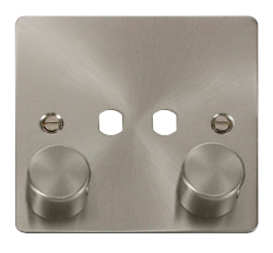 Click Define Brushed Steel 2 Gang Empty Dimmer Plate FPBS152PL