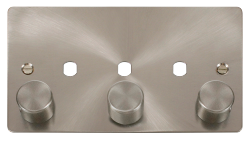 Click Define Brushed Steel 3 Gang Empty Dimmer Plate FPBS153PL