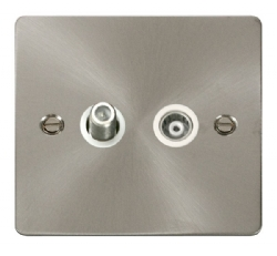 Click Define Brushed Steel Isolated Sat & Coax Point FPBS157WH
