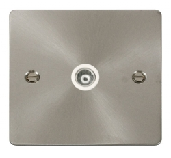 Click Define Brushed Steel Isolated Coaxial Point FPBS158WH
