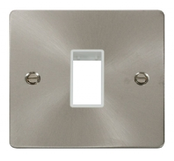 Click Define Brushed Steel Single Plate 1 Gang Aper FPBS401WH