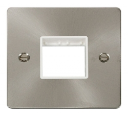 Click Define Brushed Steel Single Plate 2 Gang Aper FPBS402WH