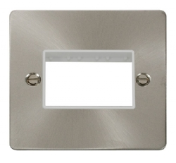 Click Define Brushed Steel Single Plate 3 Gang Aper FPBS403WH
