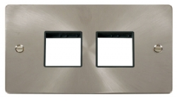 Click Define Brushed Steel Double Plate 4 Gang Aper FPBS404BK