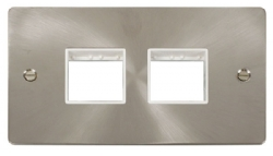 Click Define Brushed Steel Double Plate 4 Gang Aper FPBS404WH