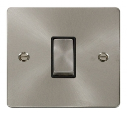 Click Define Brushed Steel 1 Gang 2 Way Switch FPBS411BK