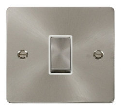 Click Define Brushed Steel 1 Gang 2 Way Switch FPBS411WH
