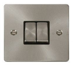 Click Define Brushed Steel 2 Gang 2 Way Switch FPBS412BK