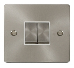 Click Define Brushed Steel 2 Gang 2 Way Switch FPBS412WH