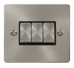 Click Define Brushed Steel 3 Gang 2 Way Switch FPBS413BK