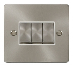 Click Define Brushed Steel 3 Gang 2 Way Switch FPBS413WH