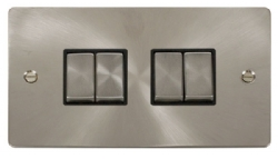 Click Define Brushed Steel 4 Gang 2 Way Switch FPBS414BK