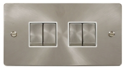 Click Define Brushed Steel 4 Gang 2 Way Switch FPBS414WH