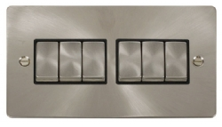 Click Define Brushed Steel 6 Gang 2 Way Switch FPBS416BK
