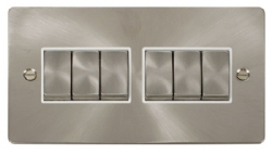 Click Define Brushed Steel 6 Gang 2 Way Switch FPBS416WH