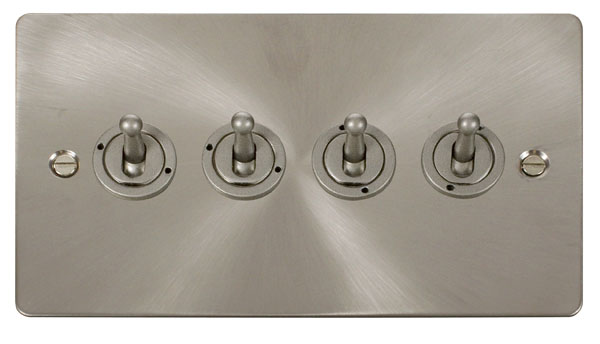 Click Define Brushed Steel 4 Gang 2 Way Toogle Switch FPBS424