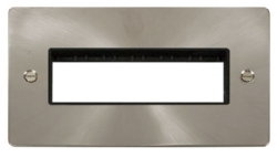 Click Define Brushed Steel Double Plate 6 Gang Aper FPBS426BK