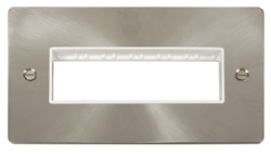 Click Define Brushed Steel Double Plate 6 Gang Aper FPBS426WH