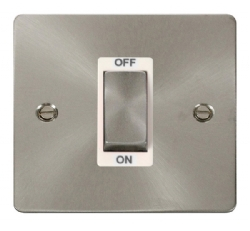 Click Define Brushed Steel 1G 45A Double Pole Switch FPBS500WH