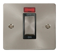 Click Define Brushed Steel 45A Double Pole Switch Neon FPBS501BK
