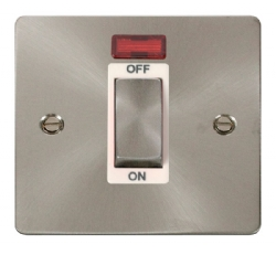 Click Define Brushed Steel 45A Double Pole Switch Neon FPBS501WH