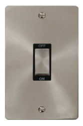 Click Define Brushed Steel 2G 45A Double Pole Switch FPBS502BK
