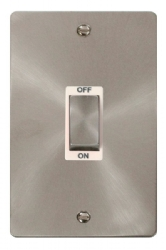 Click Define Brushed Steel 2G 45A Double Pole Switch FPBS502WH