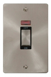 Click Define Brushed Steel 2G 45A DP Switch Neon FPBS503BK
