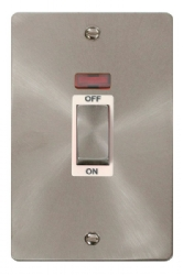 Click Define Brushed Steel 2G 45A DP Switch Neon FPBS503WH