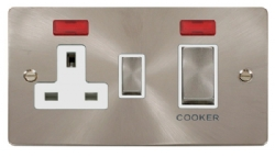 Click Define Brushed Steel 45A DP Switch & Socket Neon FPBS505WH