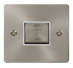 Click Define Brushed Steel 3 Pole Fan Isolator Switch FPBS520WH