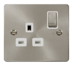 Click Define Brushed Steel Single Switched Socket FPBS535WH
