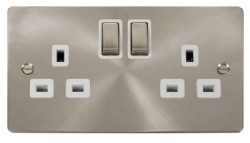 Click Define Brushed Steel Double Switched Socket FPBS536WH