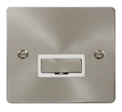 Click Define Brushed Steel Unswitched Fused Spur FPBS750WH