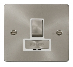 Click Define Brushed Steel Switched Fused Spur FPBS751WH