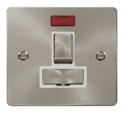 Click Define Brushed Steel Switched Fused Spur + Neon FPBS752WH