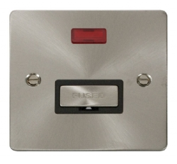 Click Define Brushed Steel Unswitched Fused Spur Neon FPBS753BK