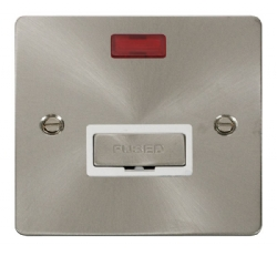 Click Define Brushed Steel Unswitched Fused Spur Neon FPBS753WH
