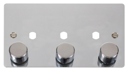 Click Define Polished Chrome 3 Gang Empty Dimmer Plate FPCH153PL