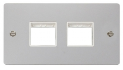 Click Define Polished Chrome Double Plate 4 Gang Aper FPCH404WH