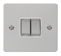 Click Define Polished Chrome 2 Gang 2 Way Switch FPCH412WH