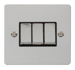 Click Define Polished Chrome 3 Gang 2 Way Switch FPCH413BK
