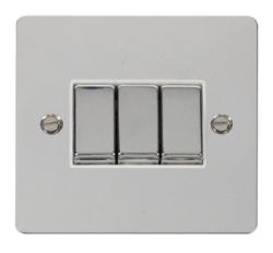 Click Define Polished Chrome 3 Gang 2 Way Switch FPCH413WH