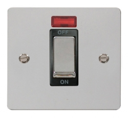 Click Define Polished Chrome 1 Gang 45A DP Switch Neon FPCH501BK