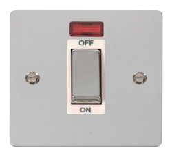 Click Define Polished Chrome 1 Gang 45A DP Switch Neon FPCH501WH